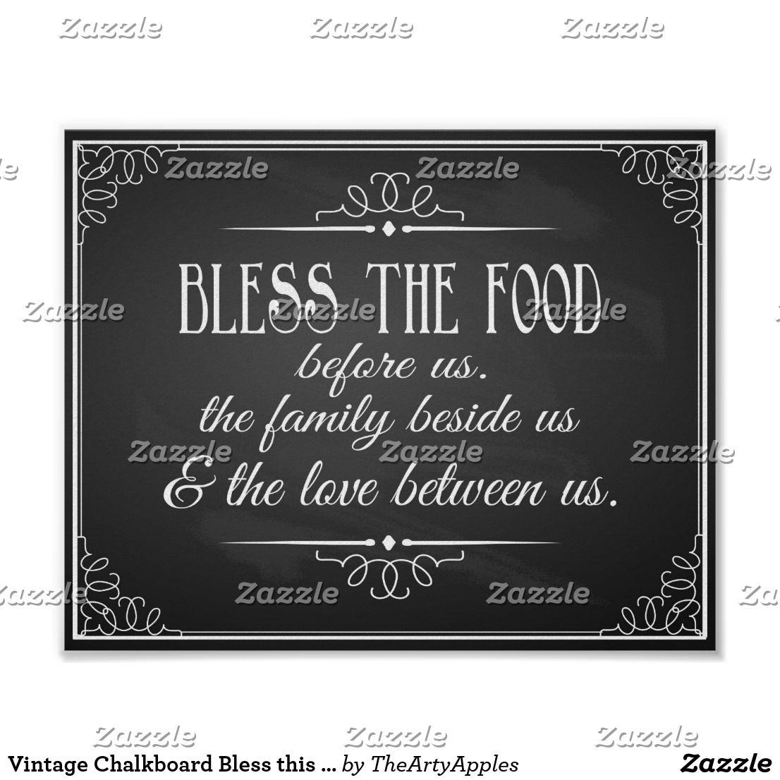 Vintage Chalkboard Bless this food wedding print