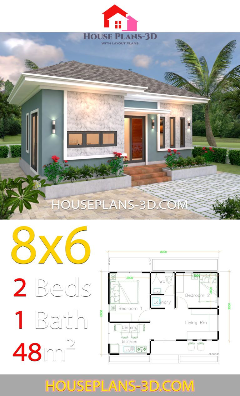 House Plans 3d 8x6 With 2 Bedrooms Hip Roof House Plans 3d House Plans Small House Design Plans House Roof