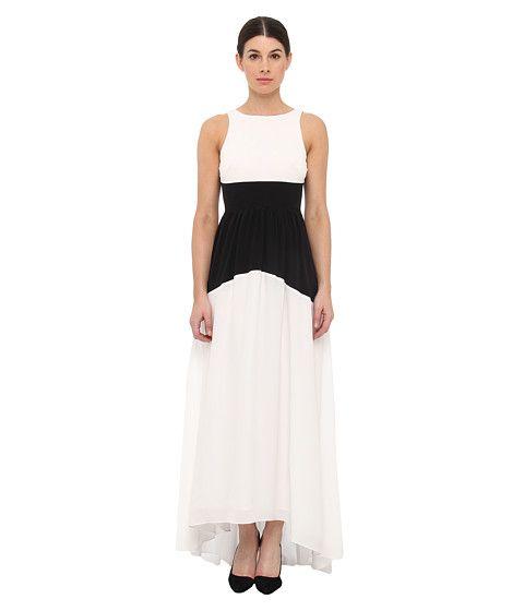 tibi Solid Silk CDC Long Dress Ivory/Black Multi - 6pm.com