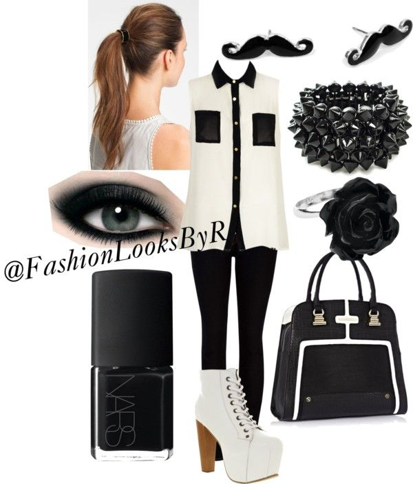"""""""Black and White Outfit"""" by fashionlooksbyr ❤ liked on Polyvore"""