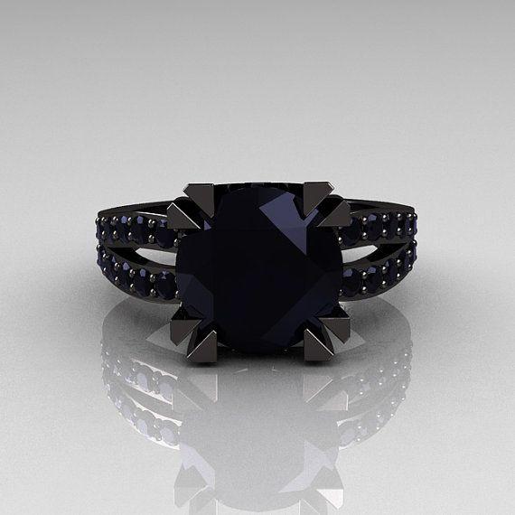 Modern Vintage 14k Black Gold 3 0 Carat Black Diamond Solitaire Ring