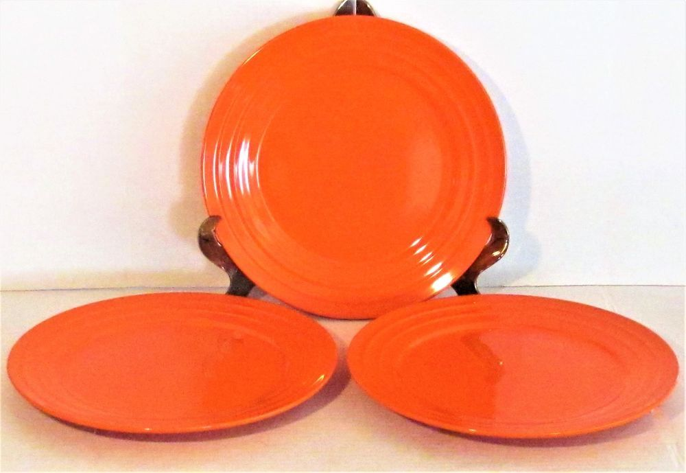 Set of 3 rachael ray 11  glazed orange  double ridge  edge dinner plates ~ l008 & Set of 3 rachael ray 11