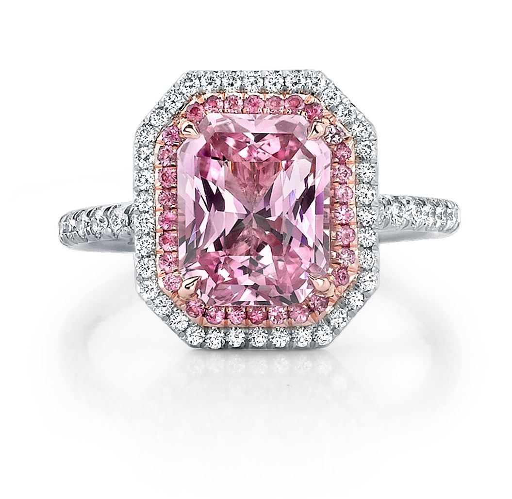 7d39bf986b9f9 pink sapphire engagment rings | Pink Sapphire and Diamond Micro Pave ...