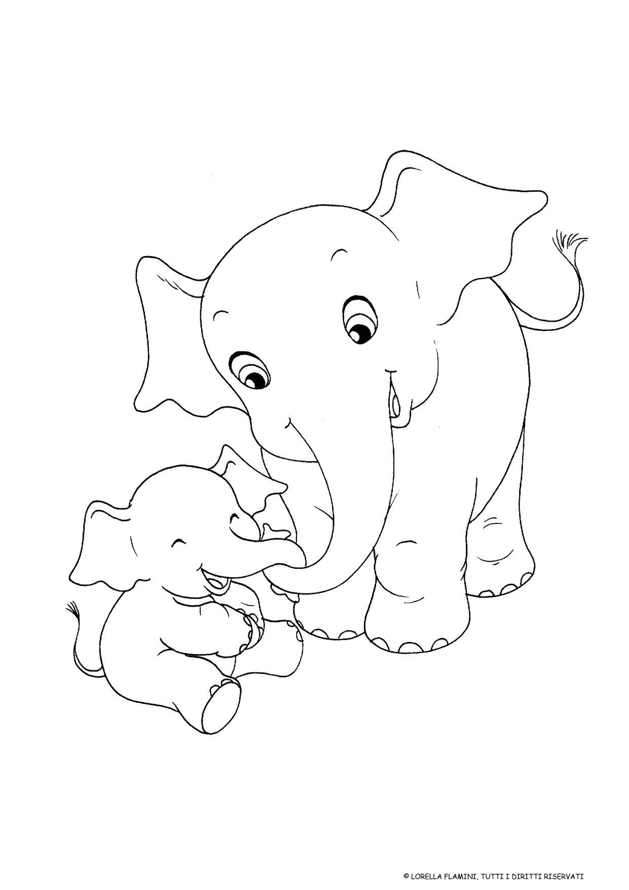 Elefanti disegno da colorare festa della mamma idee - Disegni in bianco per la colorazione ...