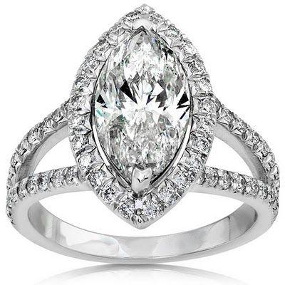 Without the diamonds around the marquise diamond