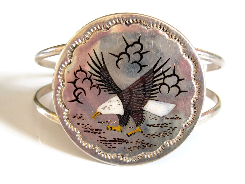 Eagle Cuff Bracelet Inlaid Gemstone Sterling Raymond Boyd Native American Navajo Vintage - pinned by pin4etsy.com