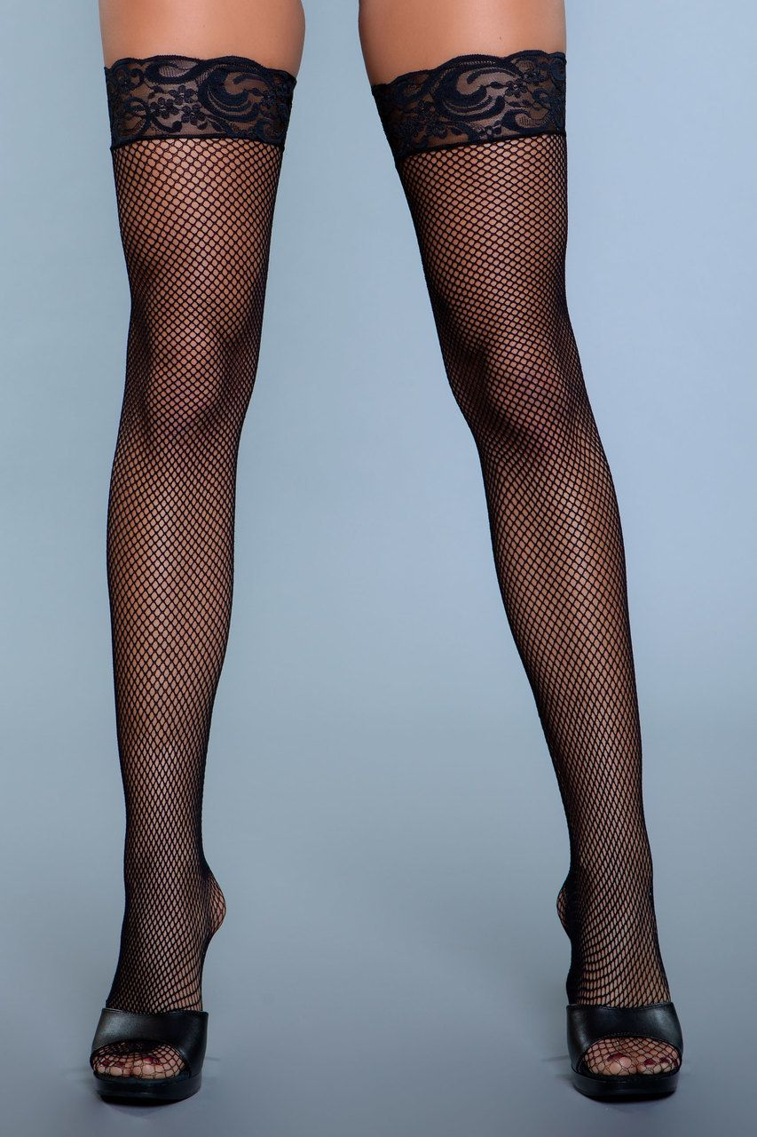 b443c3775 Sexy Be Wicked Fishnet Lace Top Thigh High Stockings Black