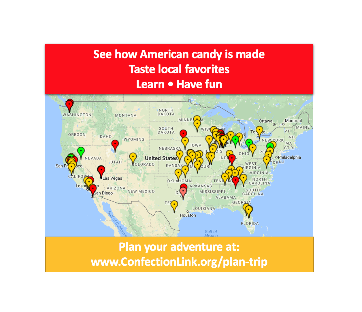 Outlet California Map.American Candy Factory Outlet And Tour Map Get To Know The
