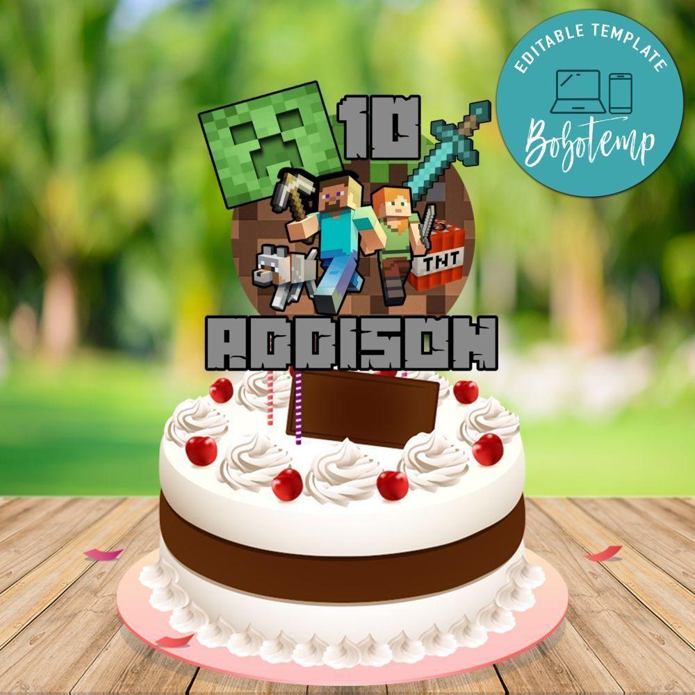 Minecraft Birthday Cake Topper Template Printable Diy In 2020 Minecraft Cake Toppers Minecraft Birthday Cake Diy Cake Topper