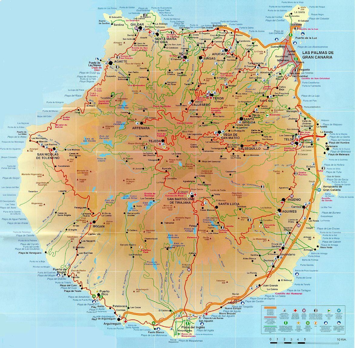 Gran Canaria Mapa Map Canary Islands Gran Canaria