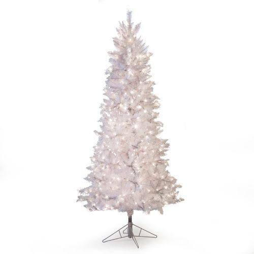 White Tiffany Pre Lit Tinsel Christmas Tree Christmas