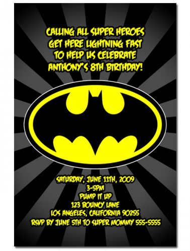 batman birthday invitation cards card