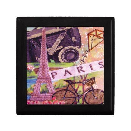 Paris From an Antique Collage Jewelry Box