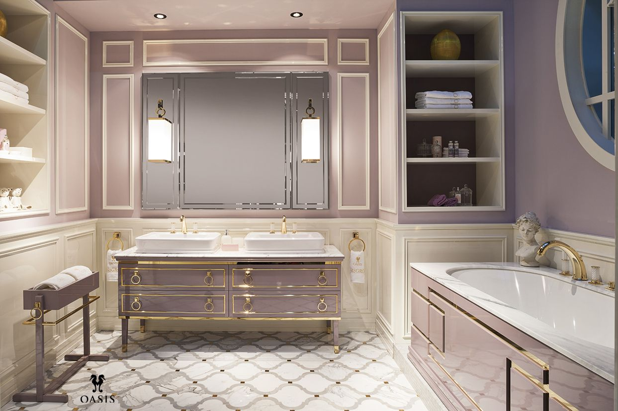 Lutetia Collection by Massimiliano Raggi architetto for Oasis Group brass metal trim vanity cabinet tub