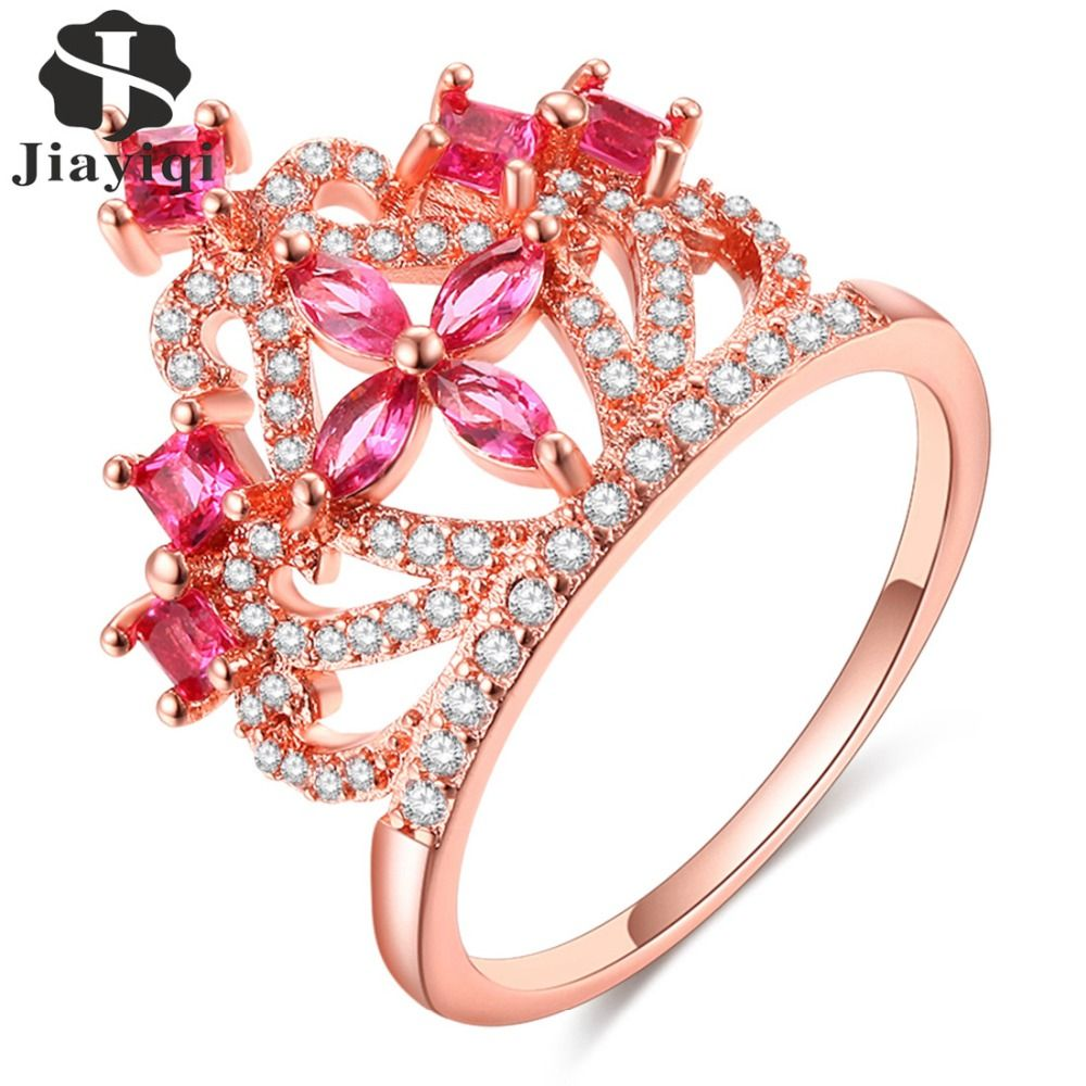 New Design Crystal Wedding Rings Jewelry Women Cubic Zirconia Crown ...