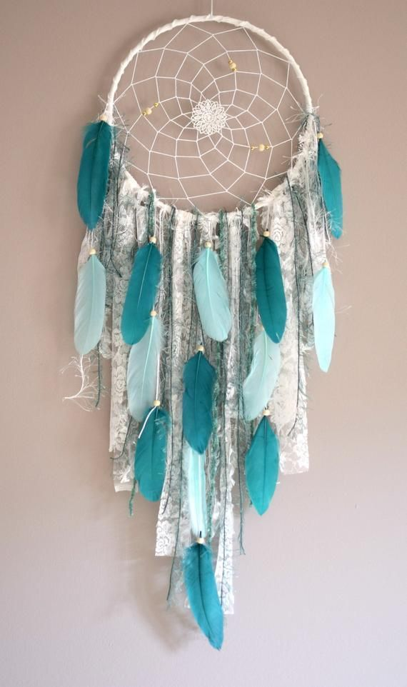 Photo of Teal Wall Decor Boho Dreamcatcher Large Dream Catcher Teal Bedroom Decor