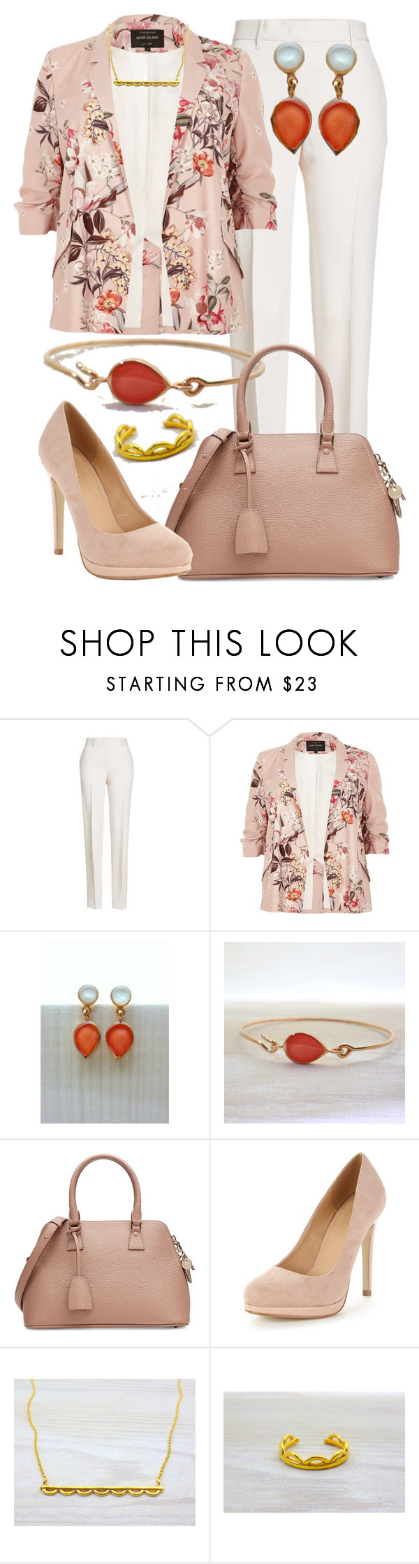 """Floral Jacket - Evangelos Jewellery"" by evanangel ❤ liked on Polyvore featuring Jil Sander, River Island and Maison Margiela"