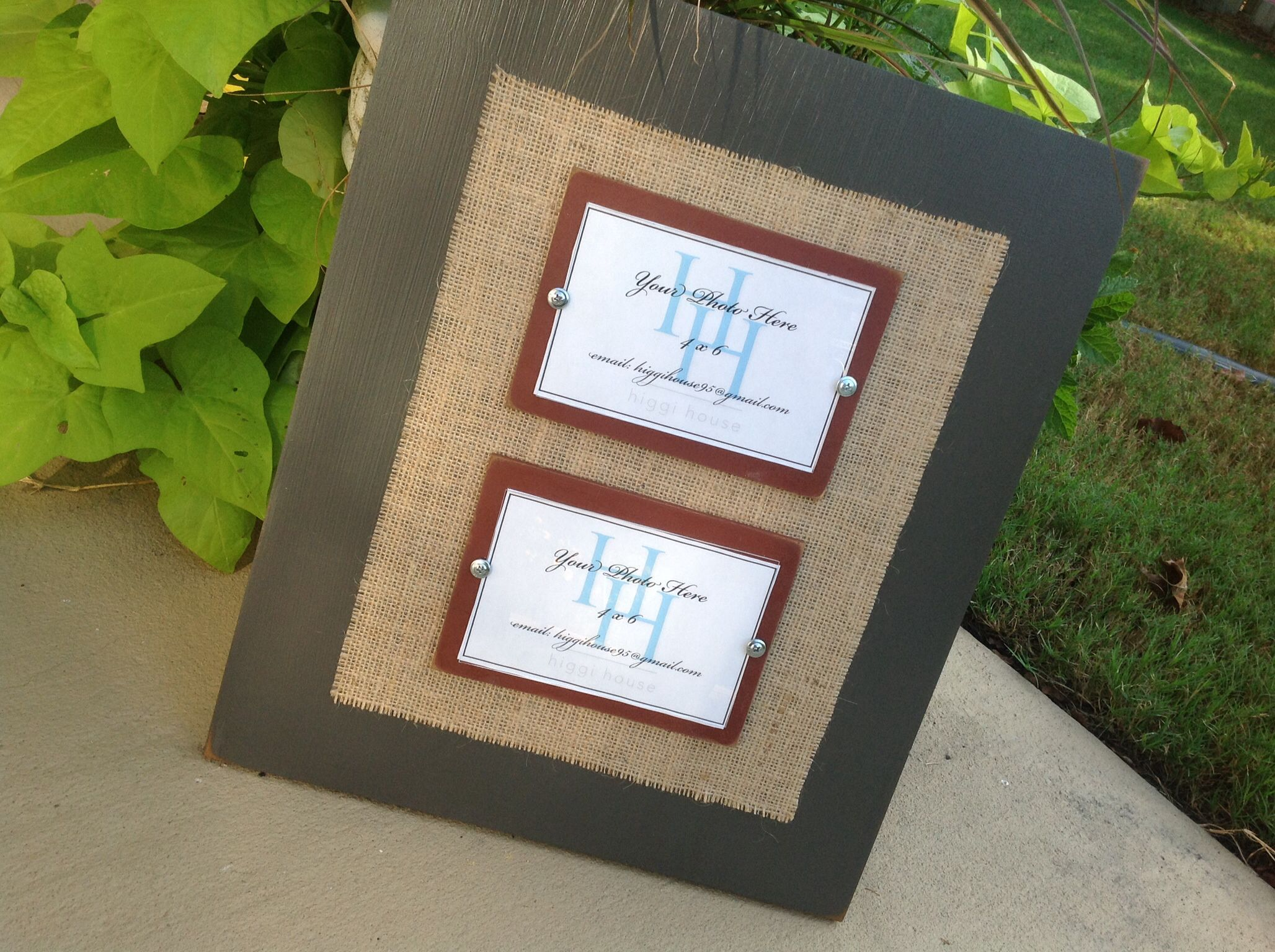 Gray wood frame with burlap for two 4x6 photos.