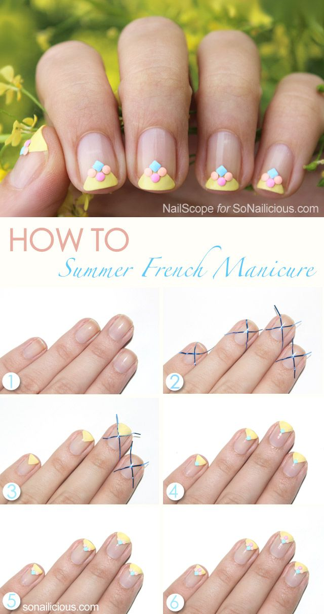 Summer French Manicure Tutorial With Coloured Studs | Manicure ...