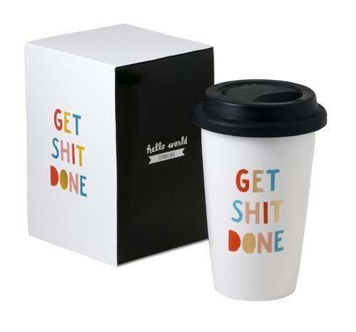 Get Shit Done Thermal Ceramic Coffee Mug With Lid And Gif Https Smile Amazon Com Dp B017aazyjy Ref Cm Sw R Pi Dp X Qfldybtn5f Mugs Thermal Mug Coffee Mugs