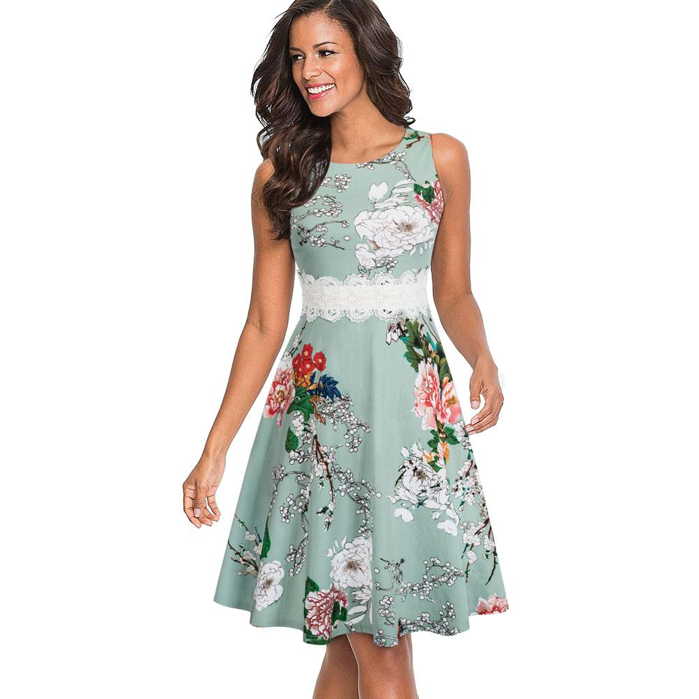 88267d23110 NICE-FOREVER Vintage Embroidered Lace Patchwork Party Dress ...