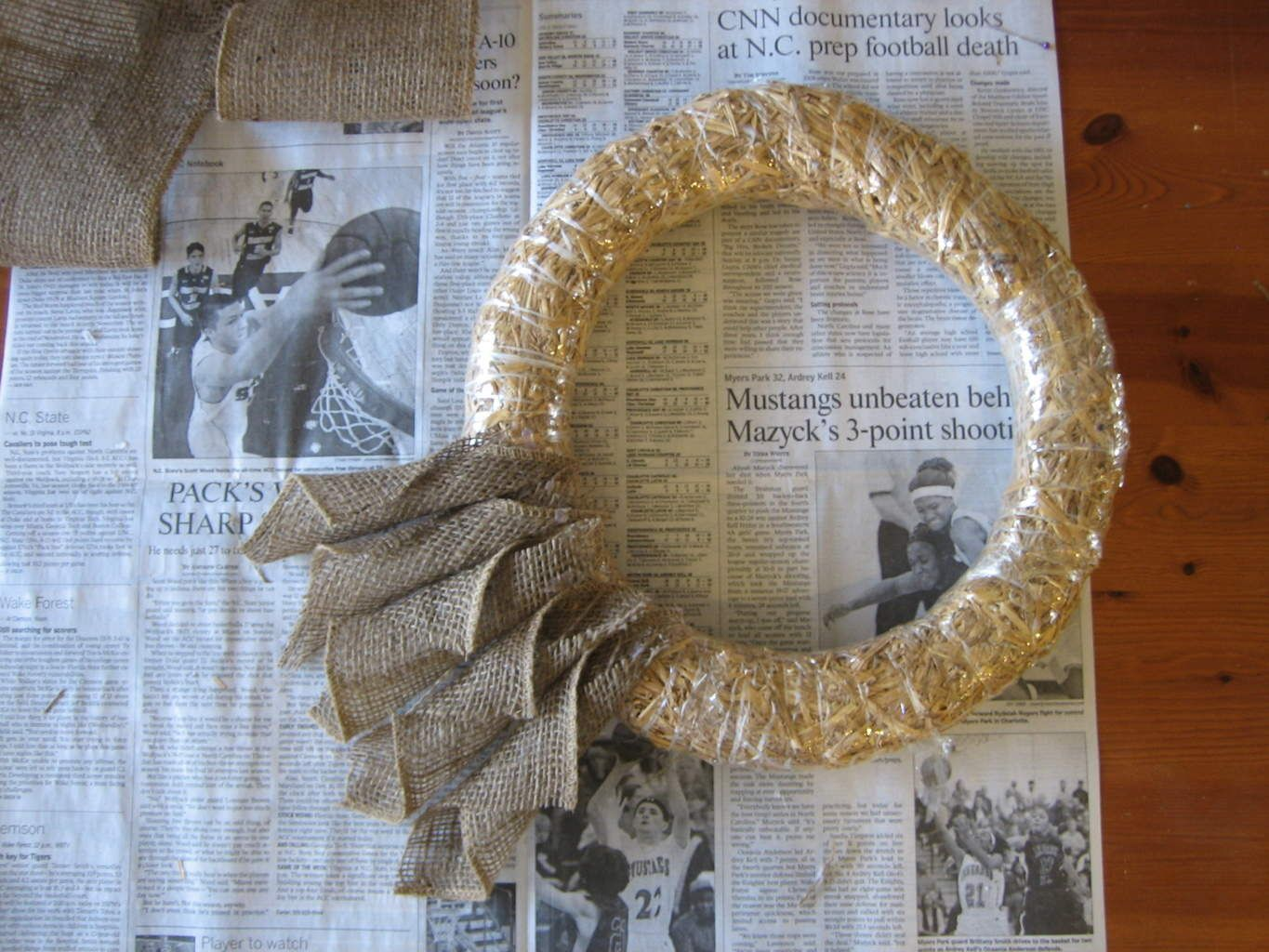 """Photo of Sackcloth wreath Made """"Book Page"""" In the style of a farmhouse!"""