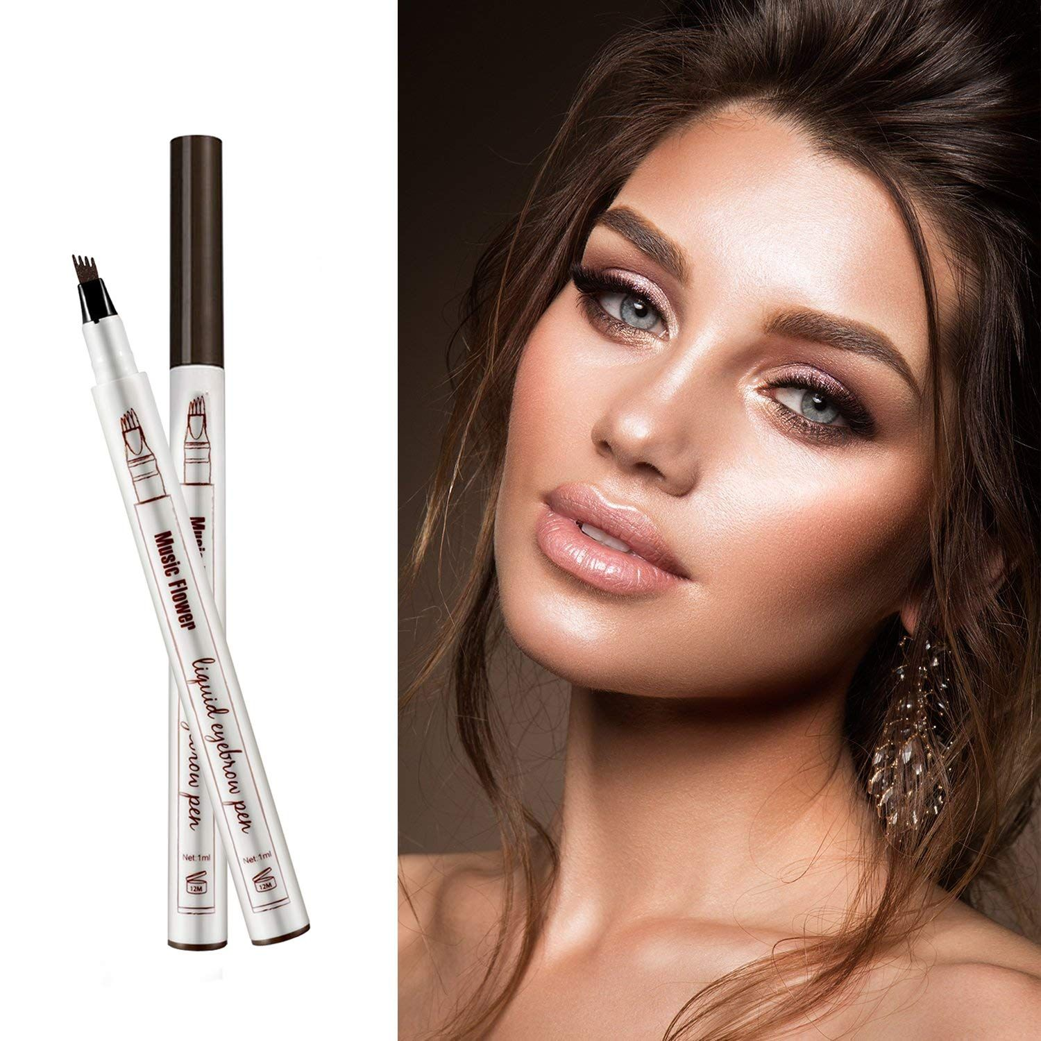 Tattoo Eyebrow Pen Waterproof Ink Gel Tint with Four Tips