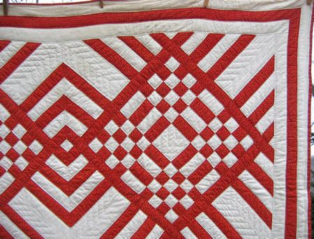 red and white quilts | Using two fabrics, a Turkey red print and a ... : red and white quilt - Adamdwight.com