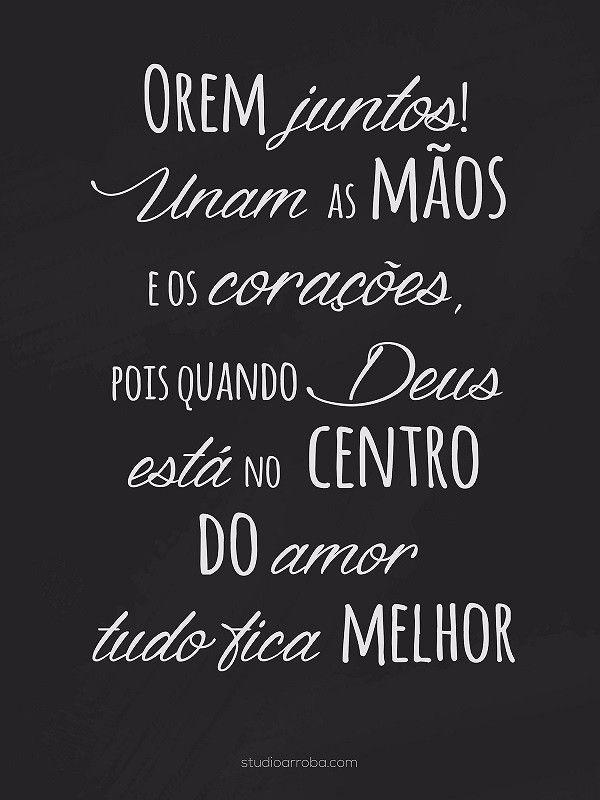 Poster Orem Juntos Preto E Branco Religiosos Frases Amor E