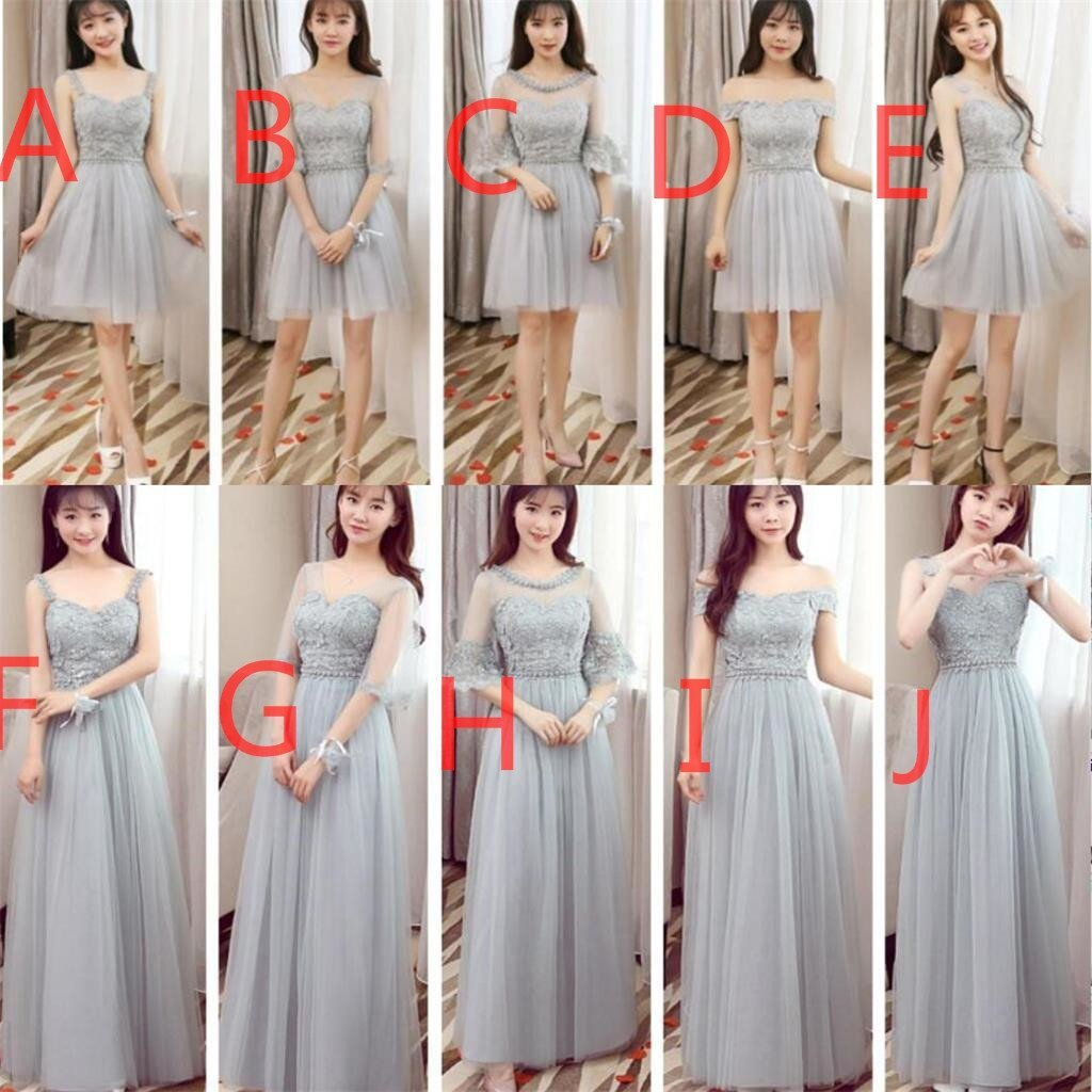 Mismatched affordable gray lace soft tulle long bridesmaid dresses