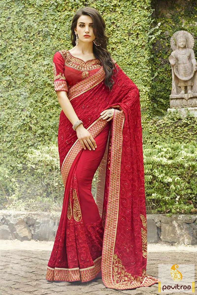 Red Color Chiffon Heavy Work Wedding Saree Online With