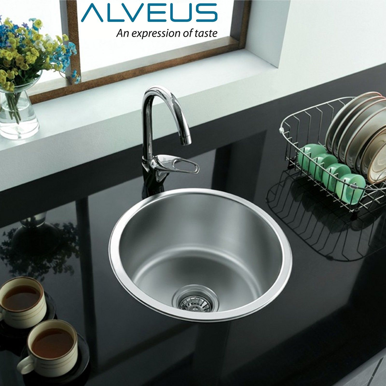ebay kitchen sinks pet friendly hotels with kitchens alveus form 10 single 1 0 bowl inset round stainless steel sink plumbing kit