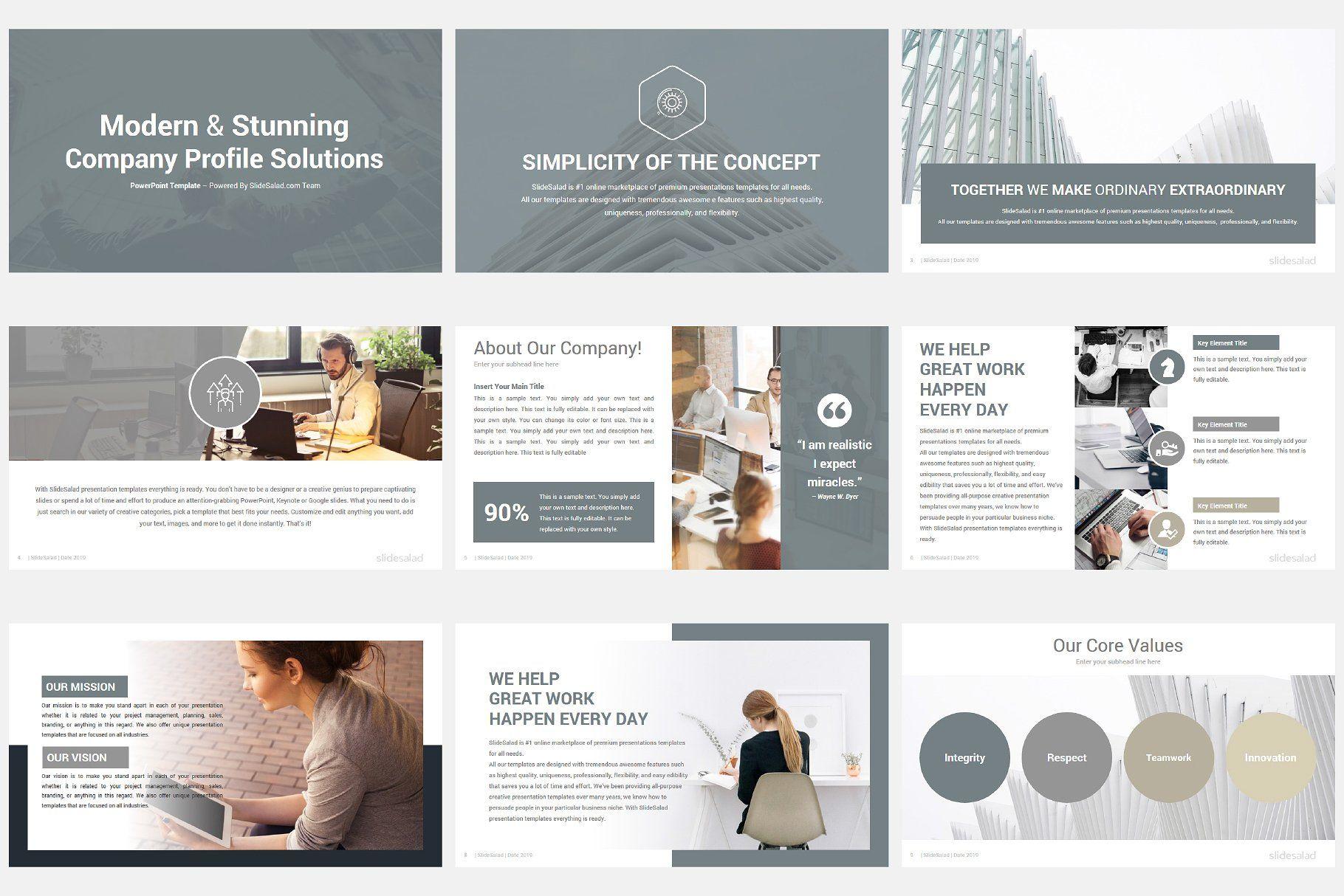 Modern Company Profile Powerpoint Company Profile Company Profile Template Marketing Icon