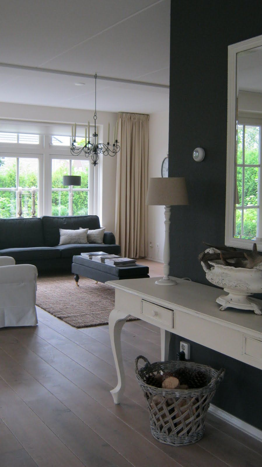Woonkamer - new place wishes | Pinterest - Crème, Gordijnen en Grijs