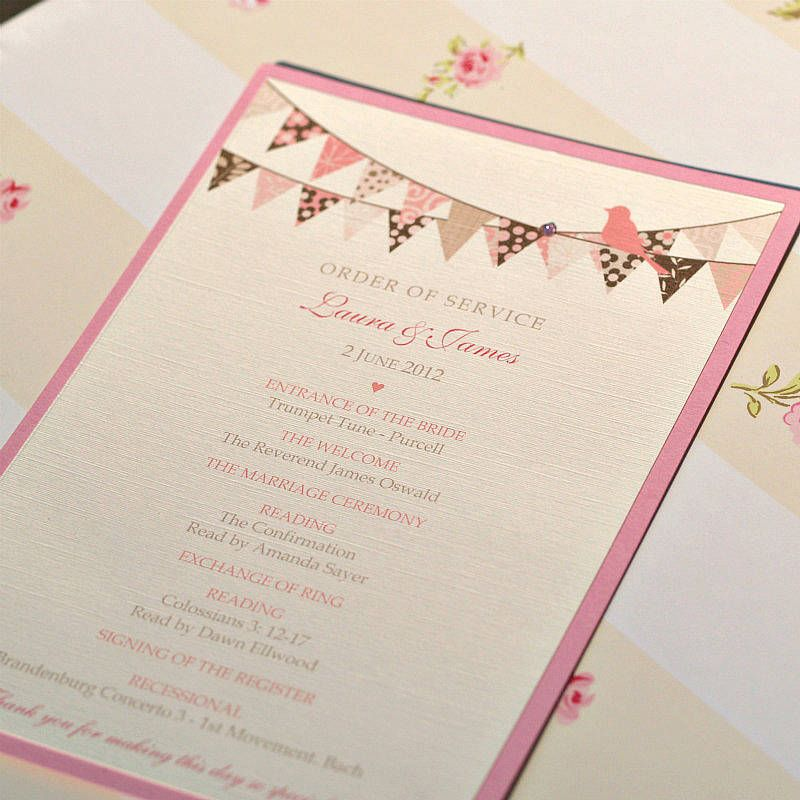 Order Of Service Bunting And Cupcake Design | beachy wedding ...