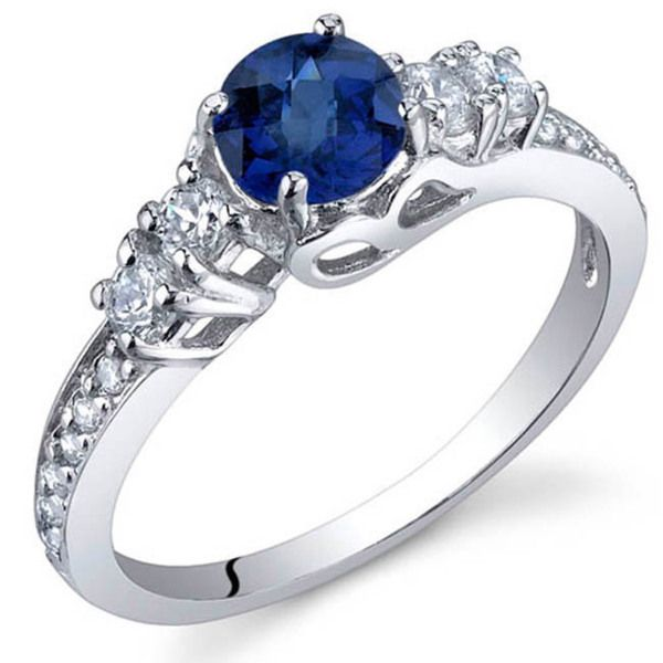 Oravo Sterling Silver Round-cut Prong-set Gemstone Cubic Zirconia Ring