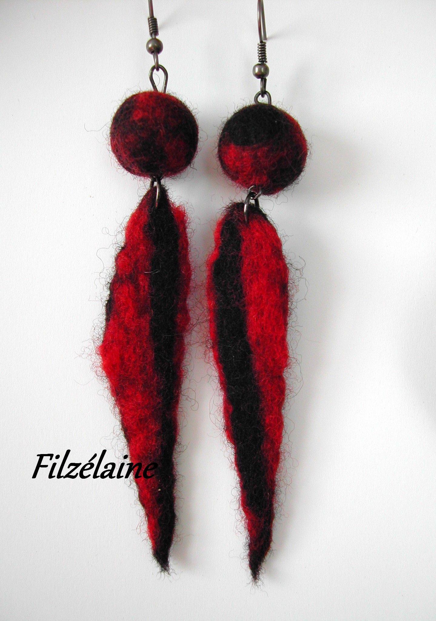boucles d'oreilles laine feutrée