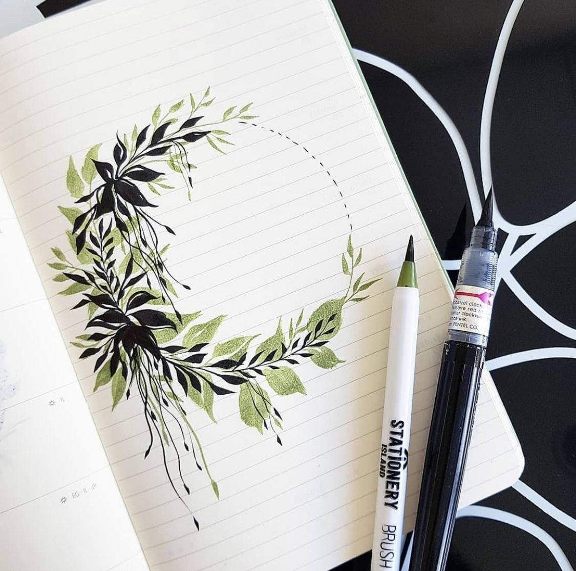 Brush Pen Wreath Bullet Journal Art Brush Pen Art Bullet