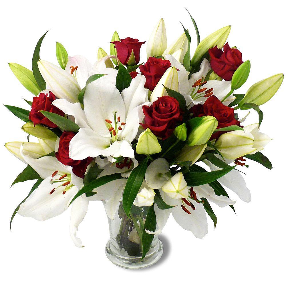 bouquet de lys blanc et de rose rouge dans un vase bouquet plantes fleurs fraiches. Black Bedroom Furniture Sets. Home Design Ideas