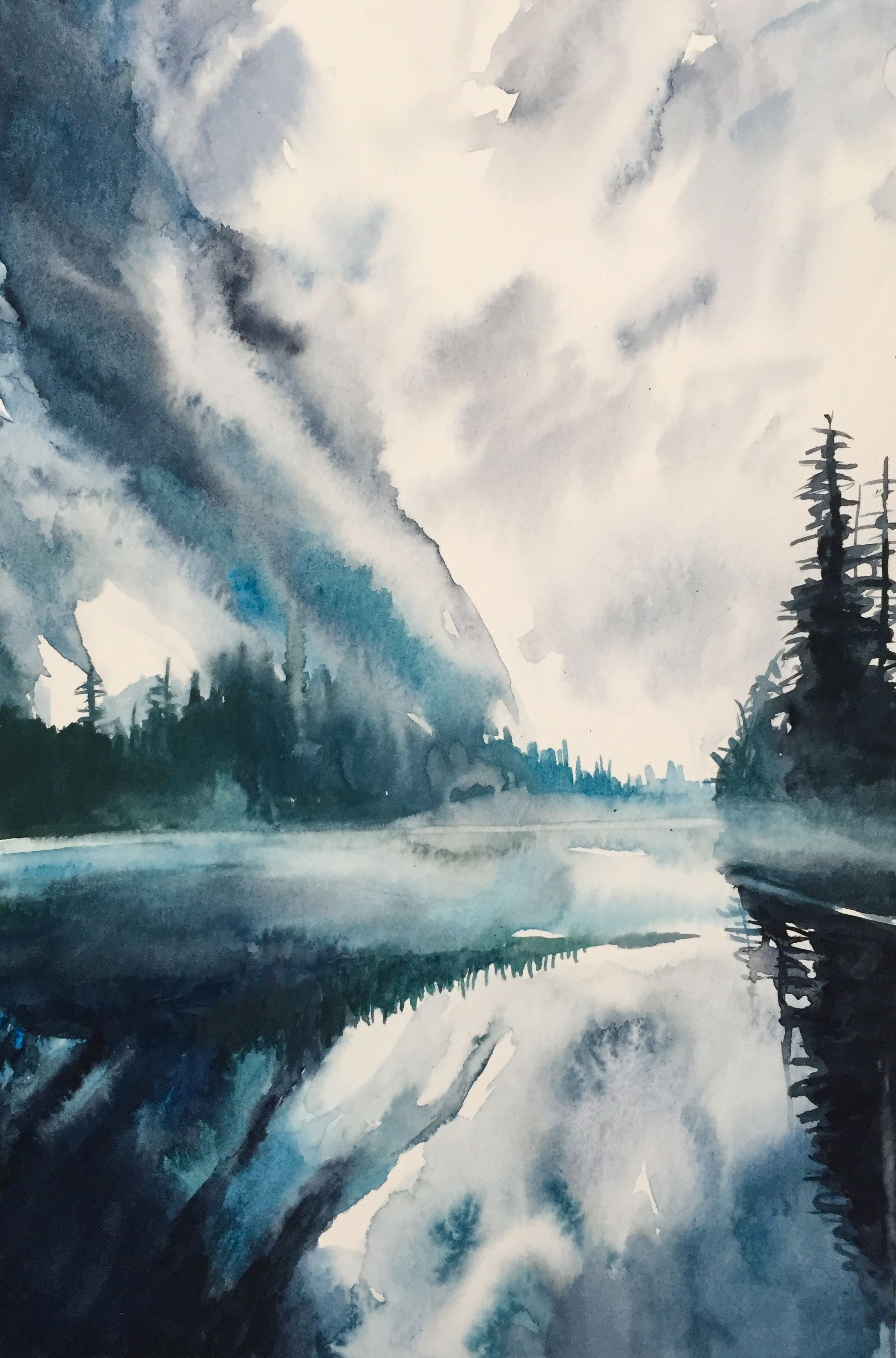 Barclay Lake Watercolor Landscape Paintings