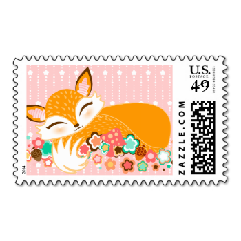 A lovely little fox cub, sleepy and serene on a bed of flowers - click CUSTOMIZE to change the background color or to add your own text! CreativeMel.com #pink #cute #pretty #stamps #fox #orange #girly #sleepy #cub #baby #asleep #cartoon #girl #unique #original #illustration #gift #for #her #chic #trendy #animal #nature #stamp #postage #home #office #business #slumber #feminine #vector #flowers #baby #shower #kawaii