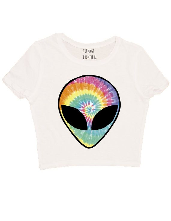 063e0ec25ba5 **BUY ANY 3 CROP TOPS & GET THE 4TH ONE FREE BY ENTERING CODE:  4THFREECROPTOP** Our Tie Dye Alien Head design printed on a cotton-poly  blend short-sleeved ...