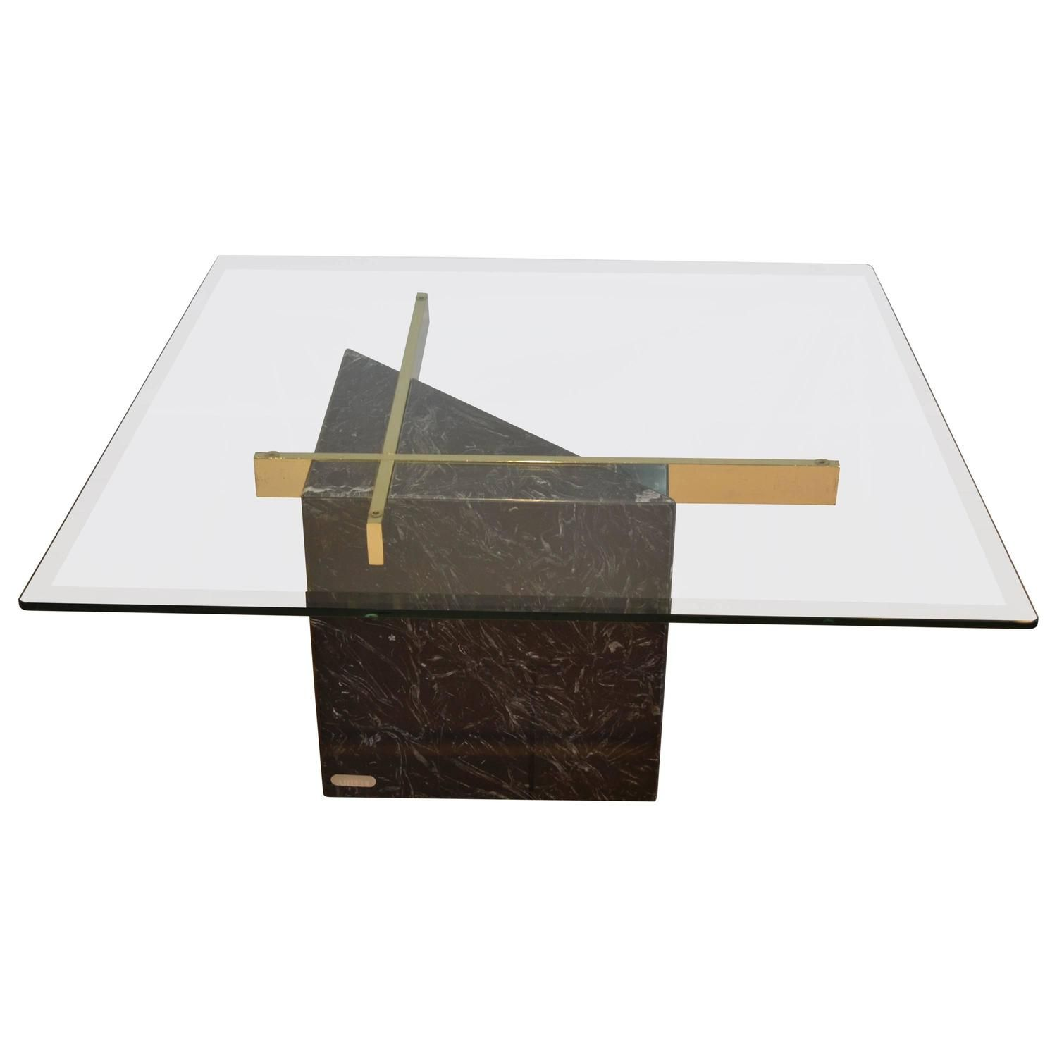 Black Marquina Marble Base And Glass Top Coffee Table By Arteri