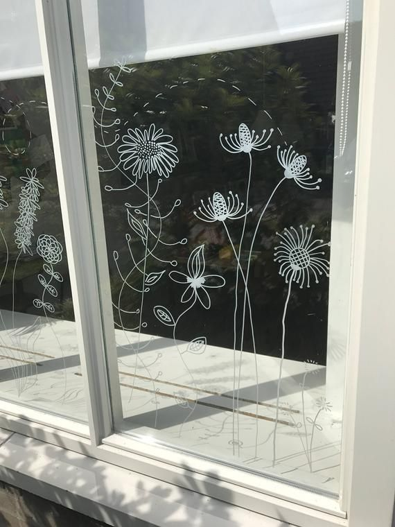 Photo of Botanical flowers window drawing – DIY Print for your window – Summer flowers – doodle flowers direct download