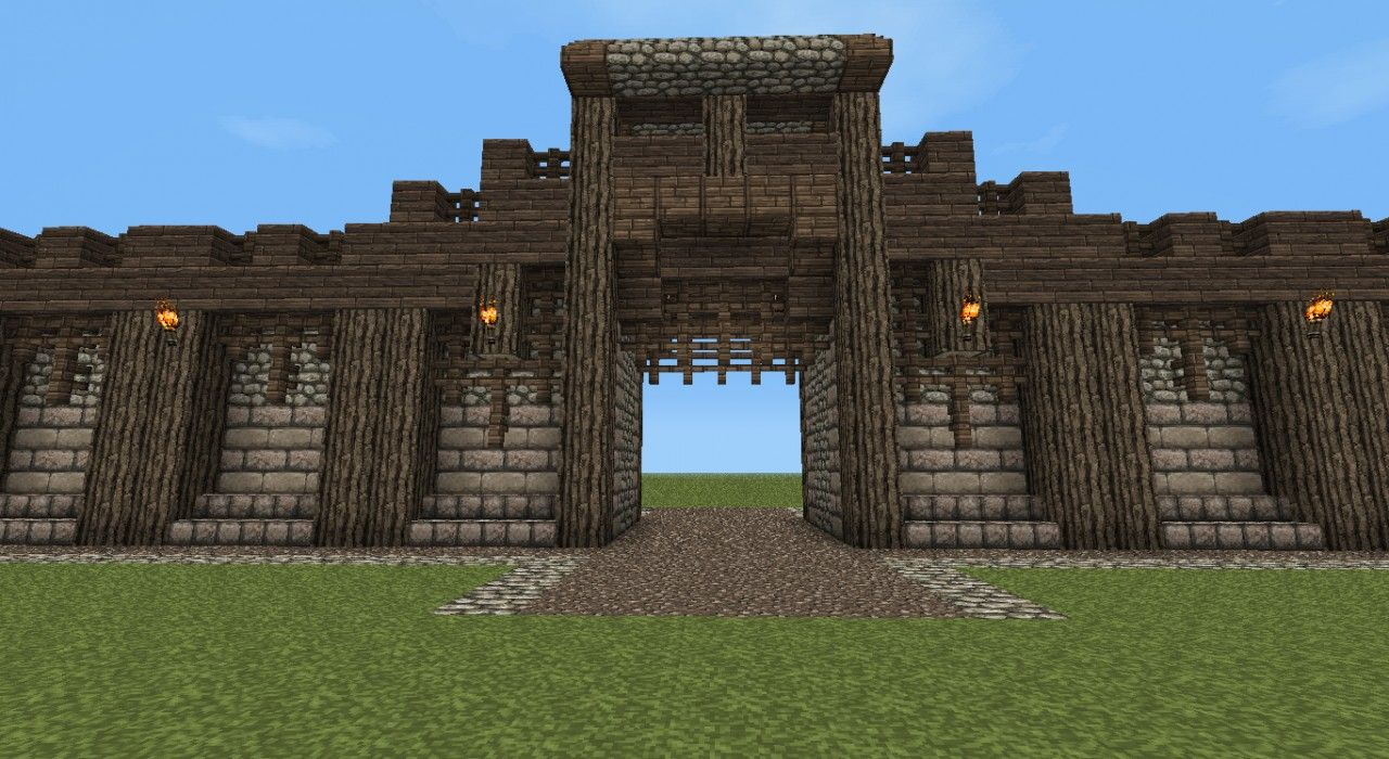 Detailed Medieval Wall Entrance Now With Added Guard Tower Minecraft Project