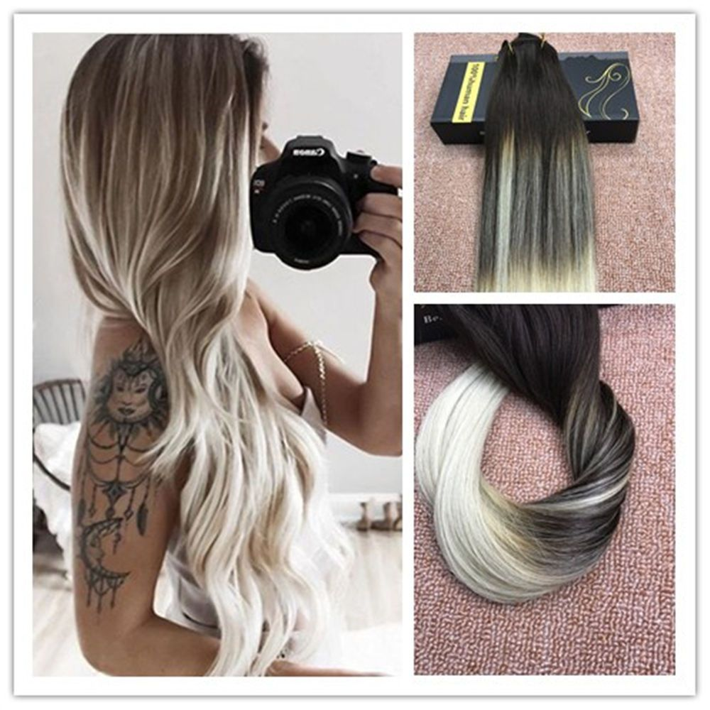 Fashion 8a Full Head Clip In Hair Extensions Balayage Blonde Ombre