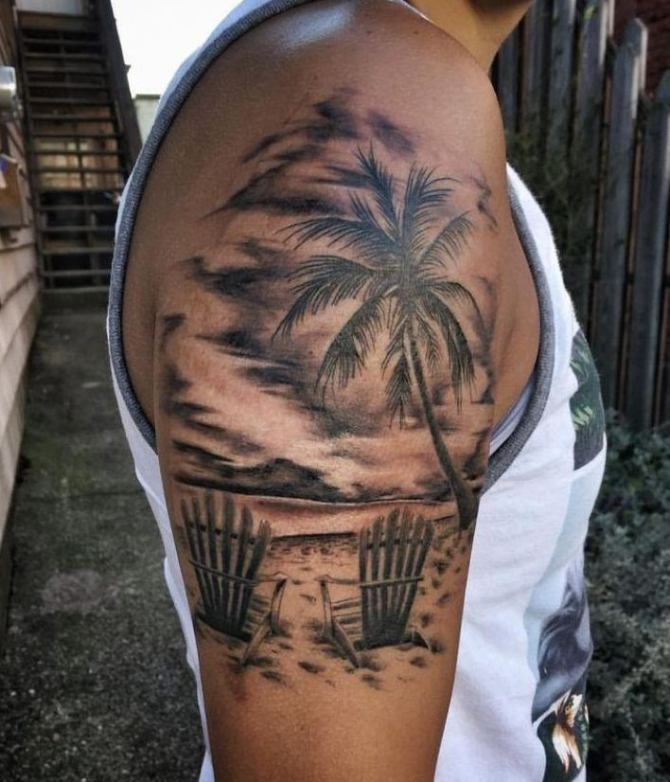 Black And White Sunset Tattoos: Sunset Tattoos, Palm Tattoos, Best