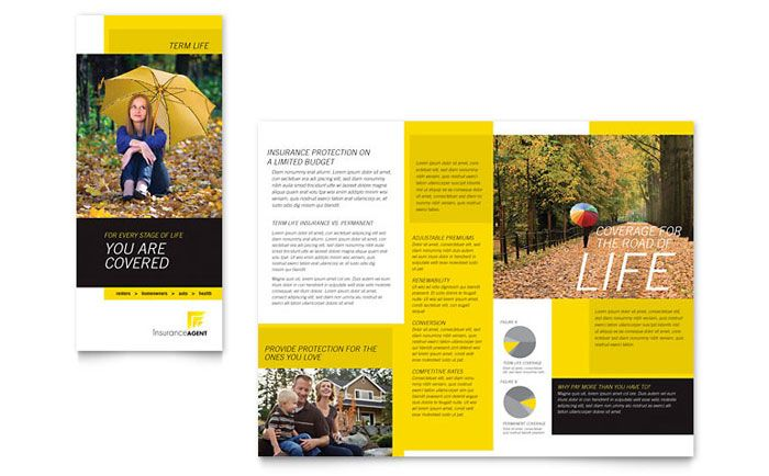 Insurance Agent Tri Fold Brochure Design Template By StockLayouts - Library brochure templates