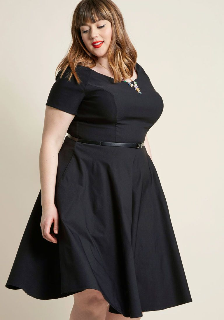 Back to classic short sleeve midi dress plus size party