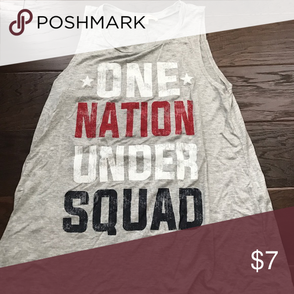 """Tank top Grey tank top with """" one nation under squad """" on it Tops Tank Tops"""